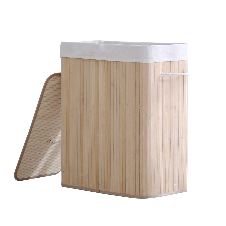 Sherwood Extra Large Rectangular Foldable Bamboo Laundry Hamper- 2 Sided