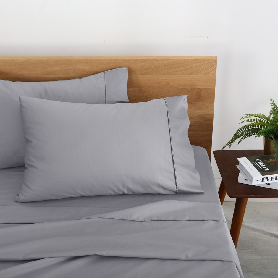 Natural Home Organic Cotton Sheet Set Single Bed SILVER