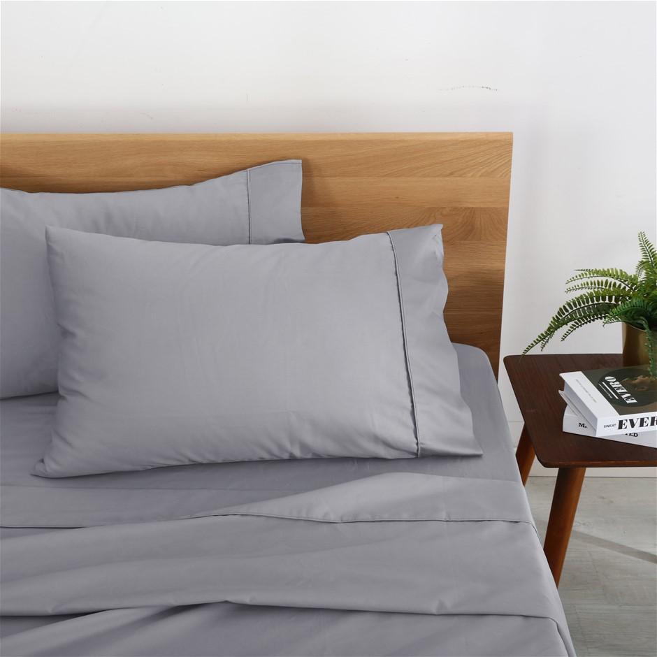 Natural Home Organic Cotton Sheet Set Single Bed SILVER