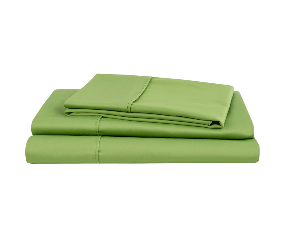 Natural Home Organic Cotton Sheet Set Super King Bed GREEN