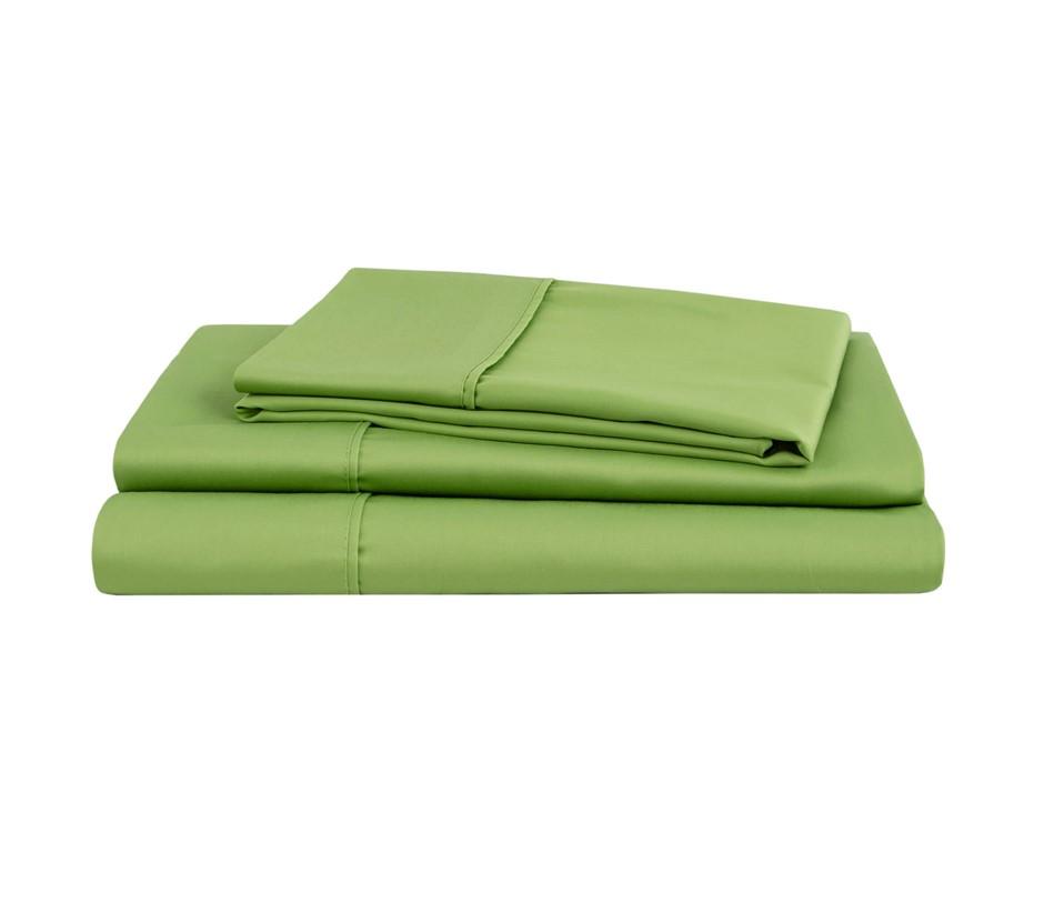 Natural Home Organic Cotton Sheet Set Super King Bed GREEN