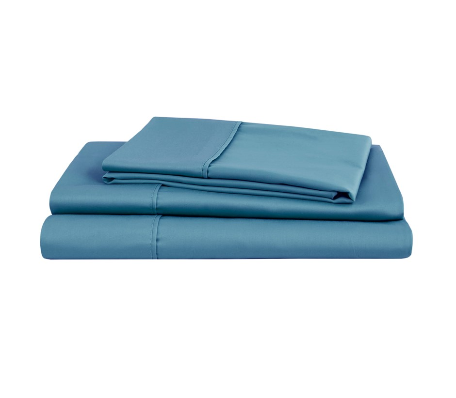Natural Home Organic Cotton Sheet Set Super King NIAGARA BLUE
