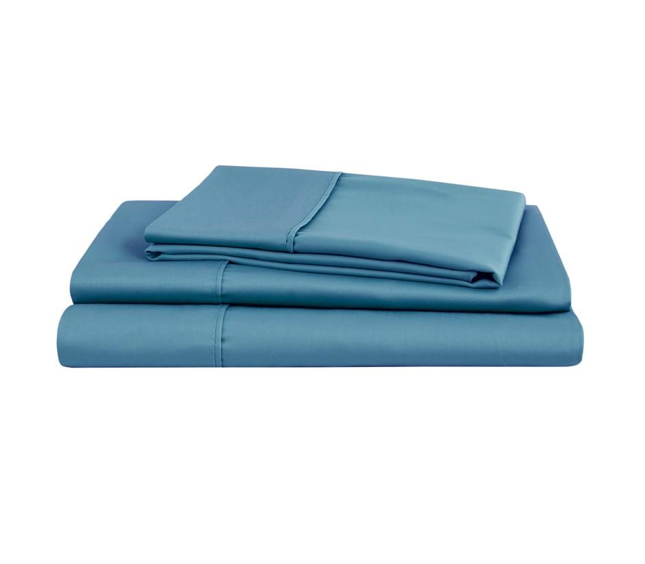 Natural Home Organic Cotton Sheet Set Super King NIAGARA BLUE