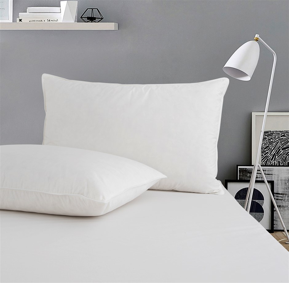 Dreamaker White Duck Feather Pillow Twin Pack