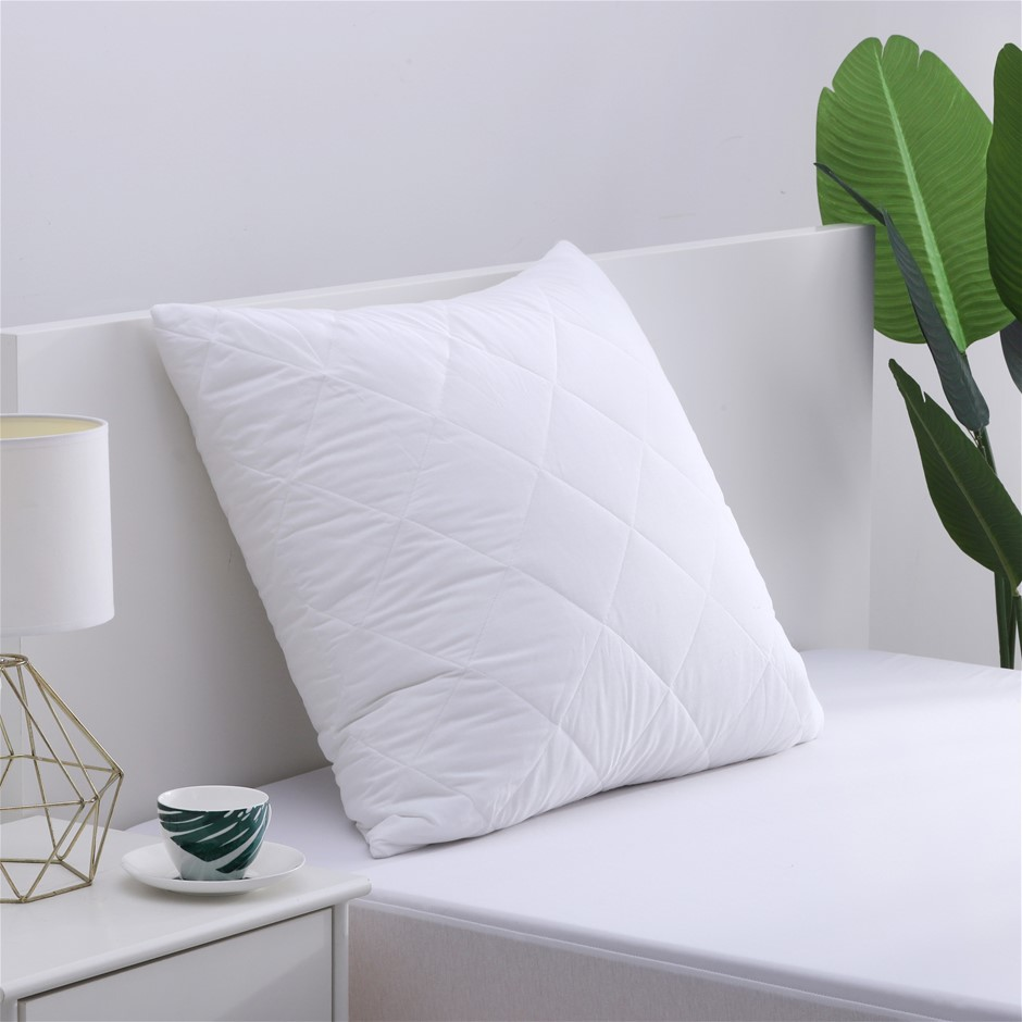 Dreamaker Cotton Cover Microfibre Filling Quilted Pillow Protector - Euro