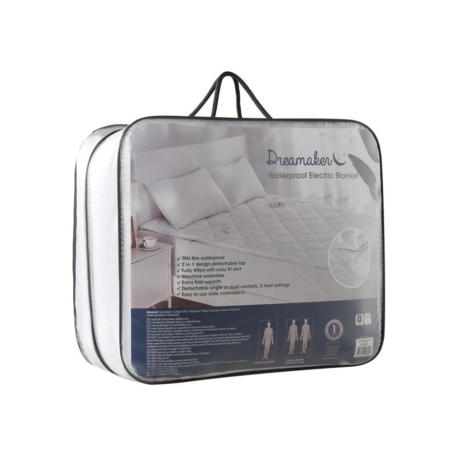 Dreamaker WATERPROOF 100% Cotton Cover Electric Blanket Queen Bed