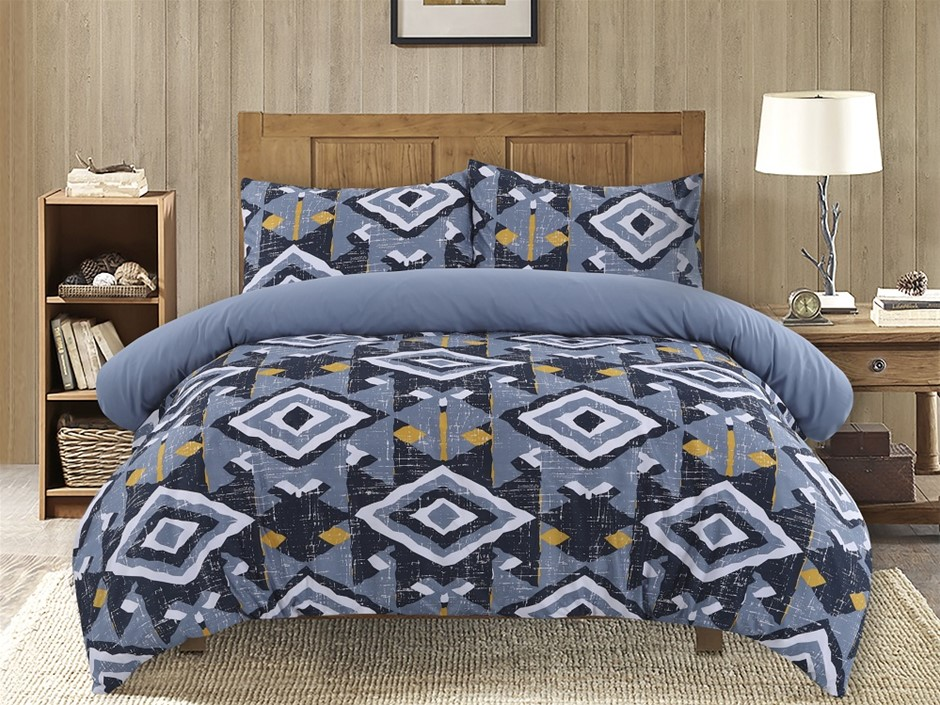 Dreamaker Printed Microfibre Quilt Cover Set Double Bed Damacus