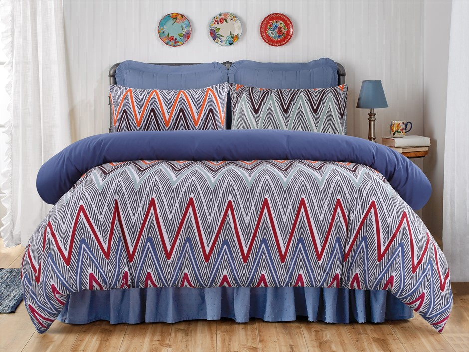 Dreamaker Printed Microfibre Quilt Cover Set King Single Bed Alberta