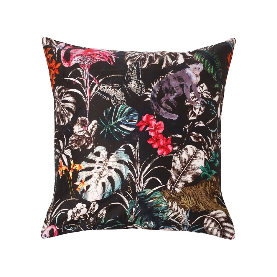 Dreamaker 300TC Cotton Sateen Printed Euro Pillowcase Dark Jungle