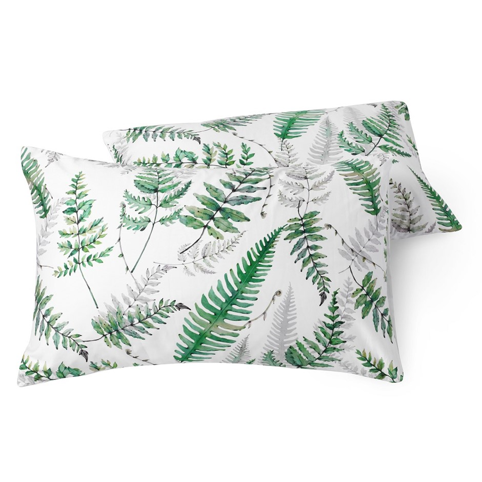 Dreamaker 300TC Cotton Sateen Printed Standard Pillowcase 2PK Green Ferns
