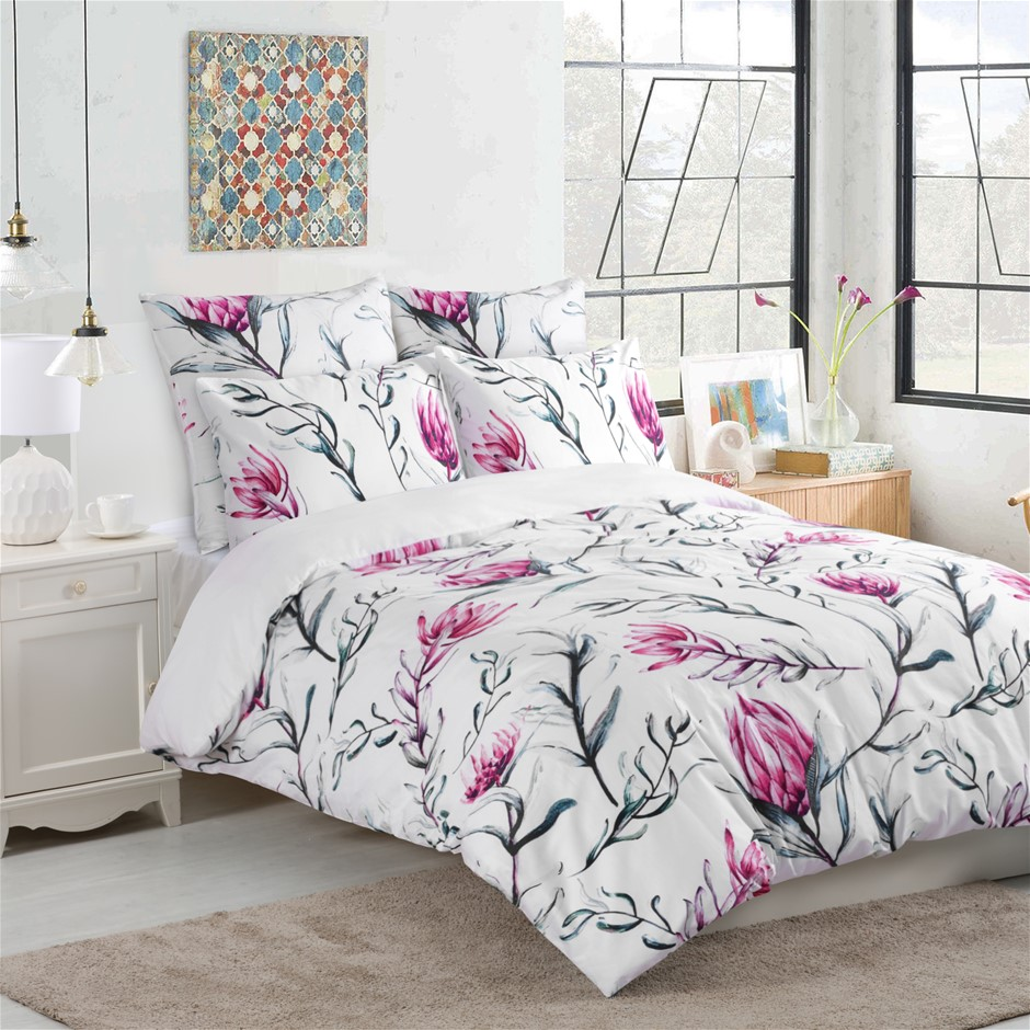 Dreamaker 300TC Cotton Sateen Printed Quilt Cover Set Pink Flower King Bed