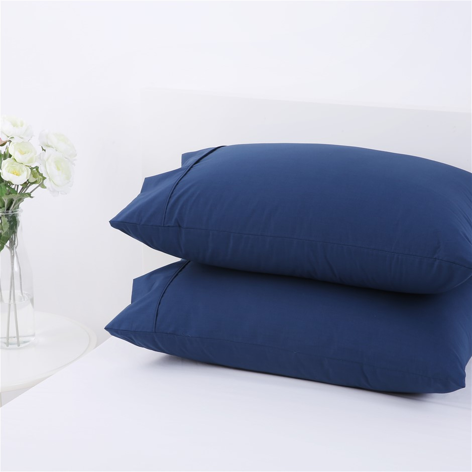 Dreamaker 250TC Plain Dyed Standard Pillowcases - Twin Pack -Insignia Blue