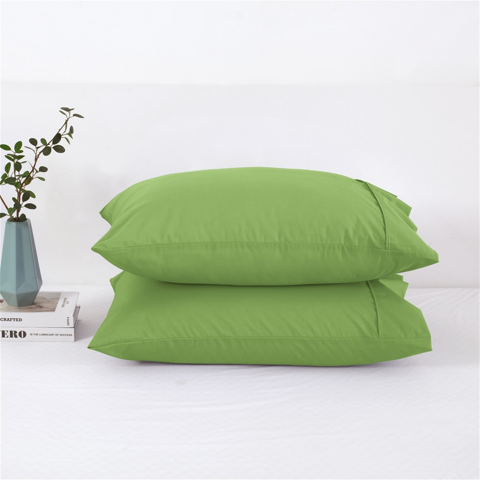 Dreamaker 250TC Plain Dyed Standard Pillowcases - Twin Pack -Greenery