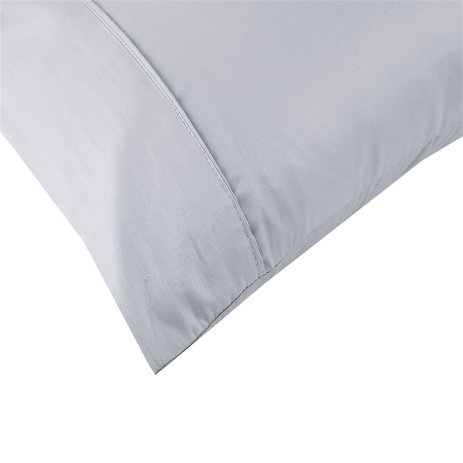 Dreamaker Cotton Sateen 300TC Plain Dyed Pillowcases - Twin Pack