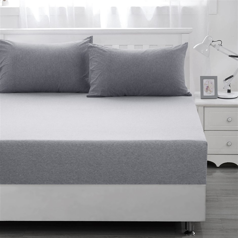 Dreamaker cotton jersey fitted sheet marble grey King Bed
