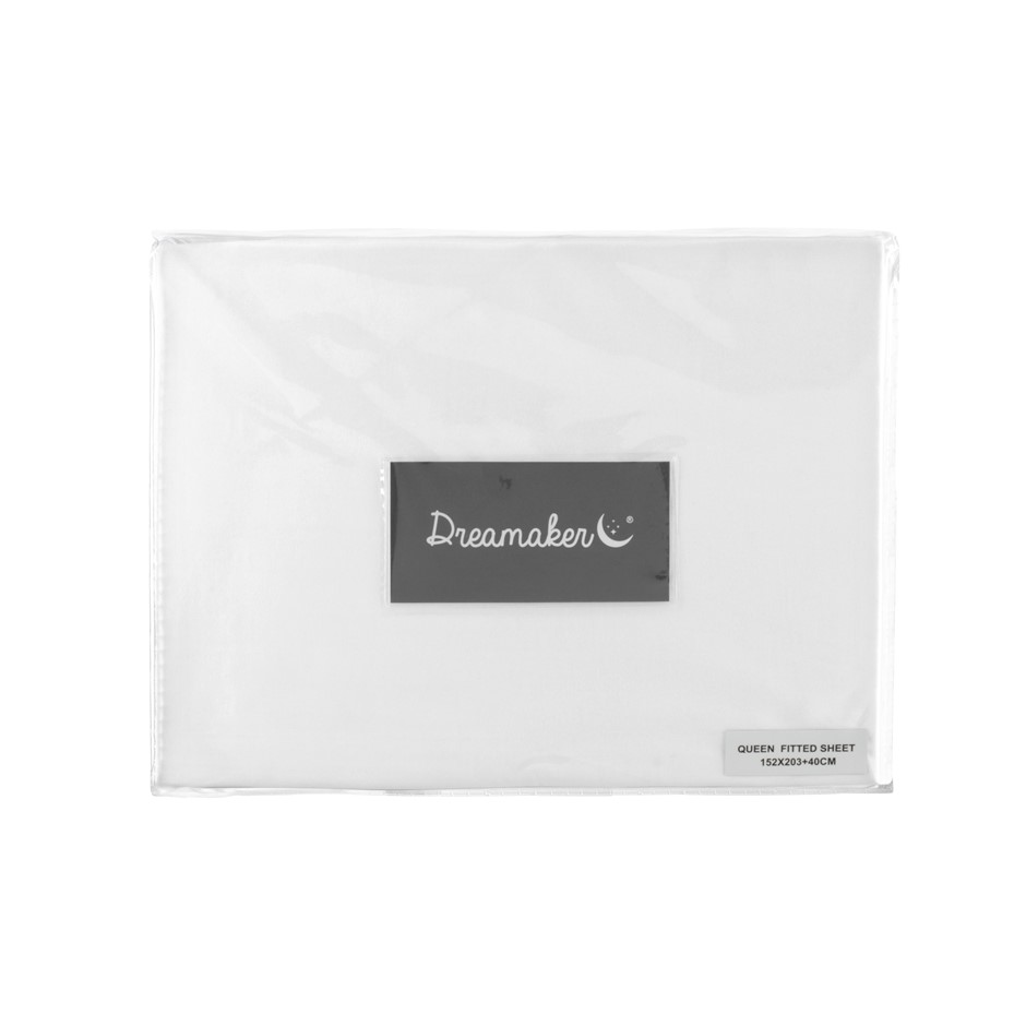 Dreamaker 500 TC Cotton Sateen Fitted Sheet Single Bed - White
