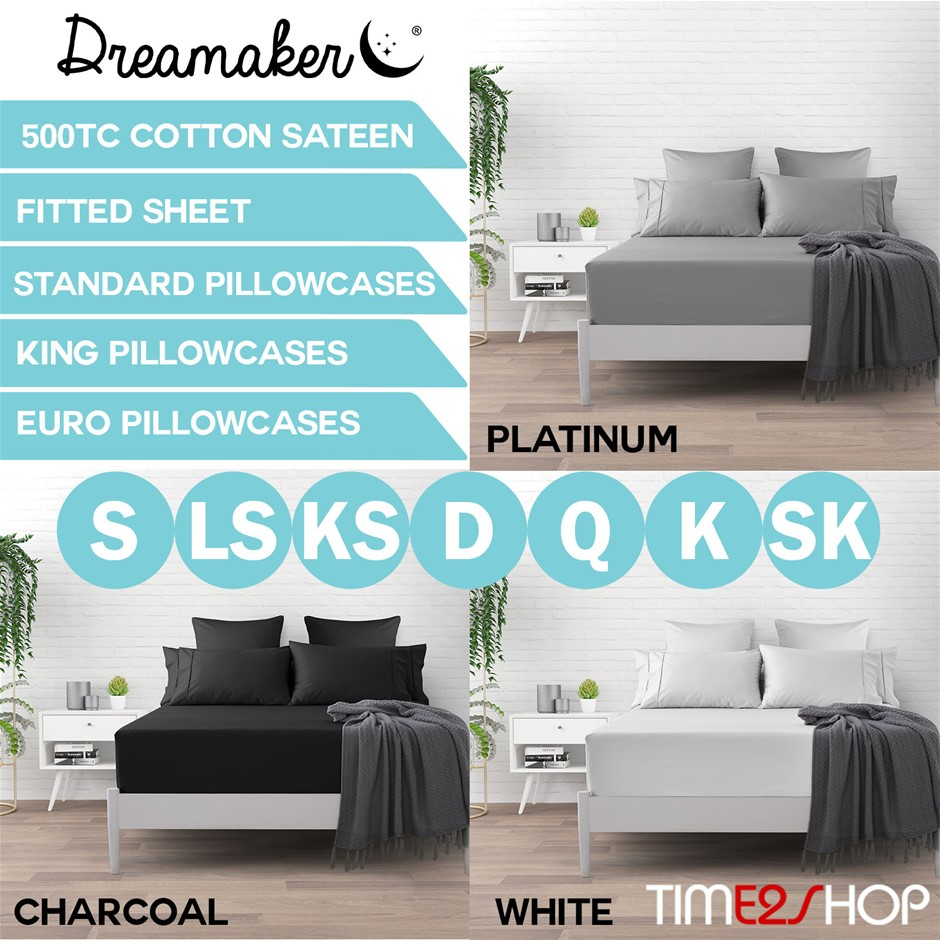 Dreamaker 500 TC Cotton Sateen Fitted Sheet King Bed - White