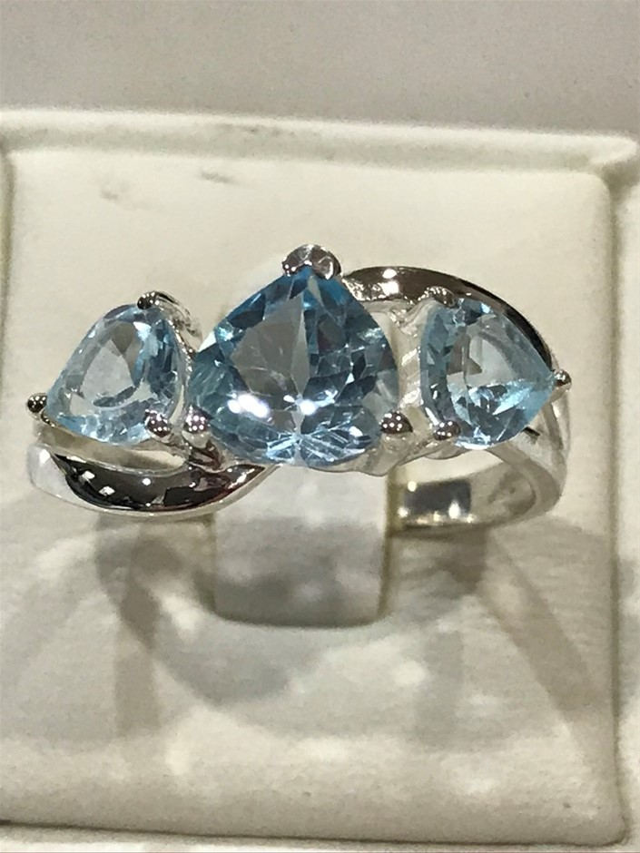 Classical Three Stone Blue Topaz 3.00ct Ring Size P (7.75)