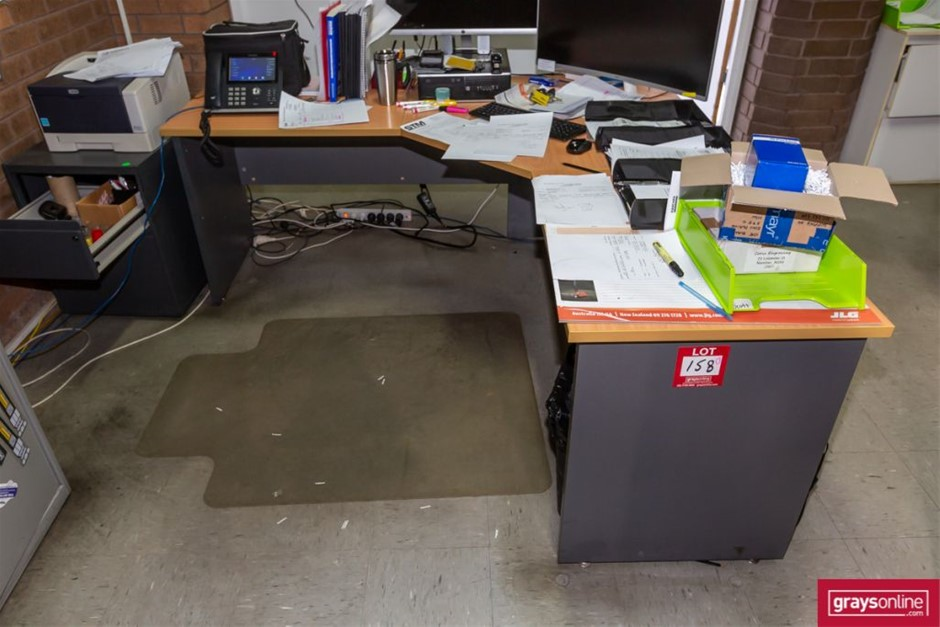 4x Assorted Office Desk with Chairs & Cupboard