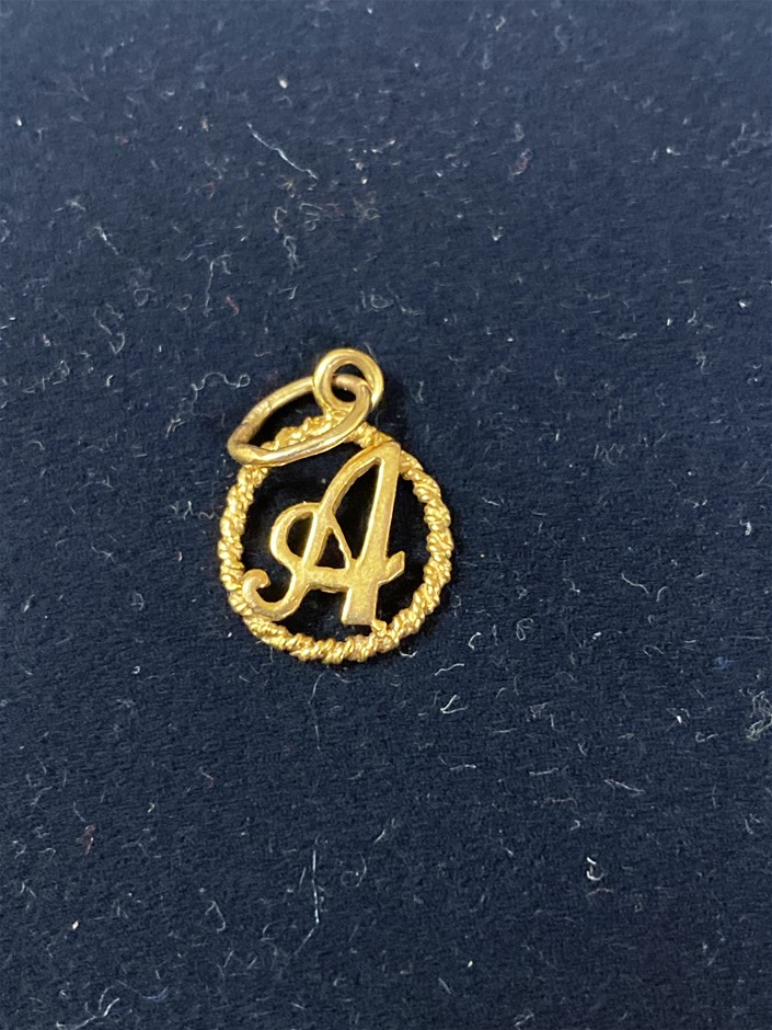 Gold Letter Pendant 18 Karat Yellow Gold Styled as th