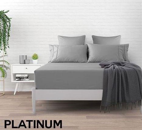 Dreamaker 500 TC Cotton Sateen Fitted Sheet Queen Bed - Platinum