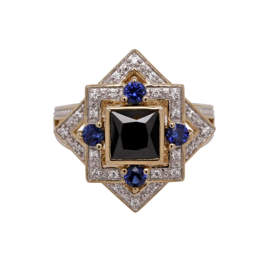 Ladies Yellow Gold Vermeil Black Princess CZ Dress Ring.