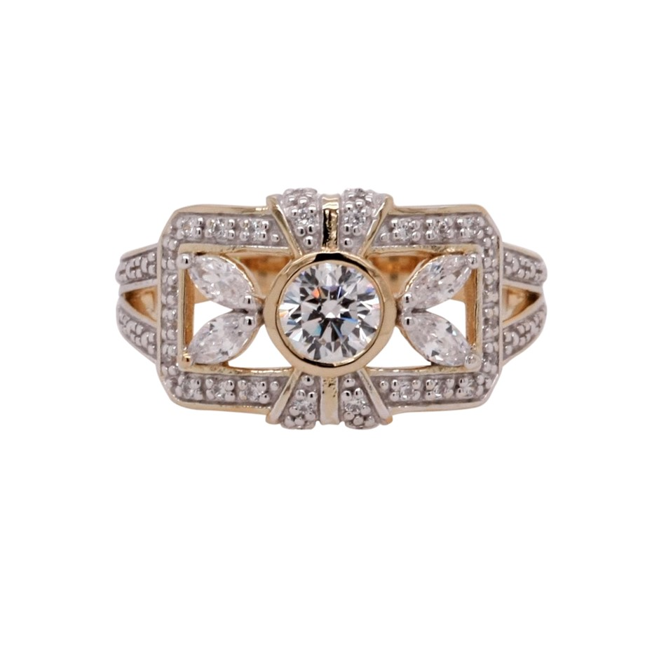 Ladies Yellow Gold Vermeil & White CZ Vintage Design Ring.