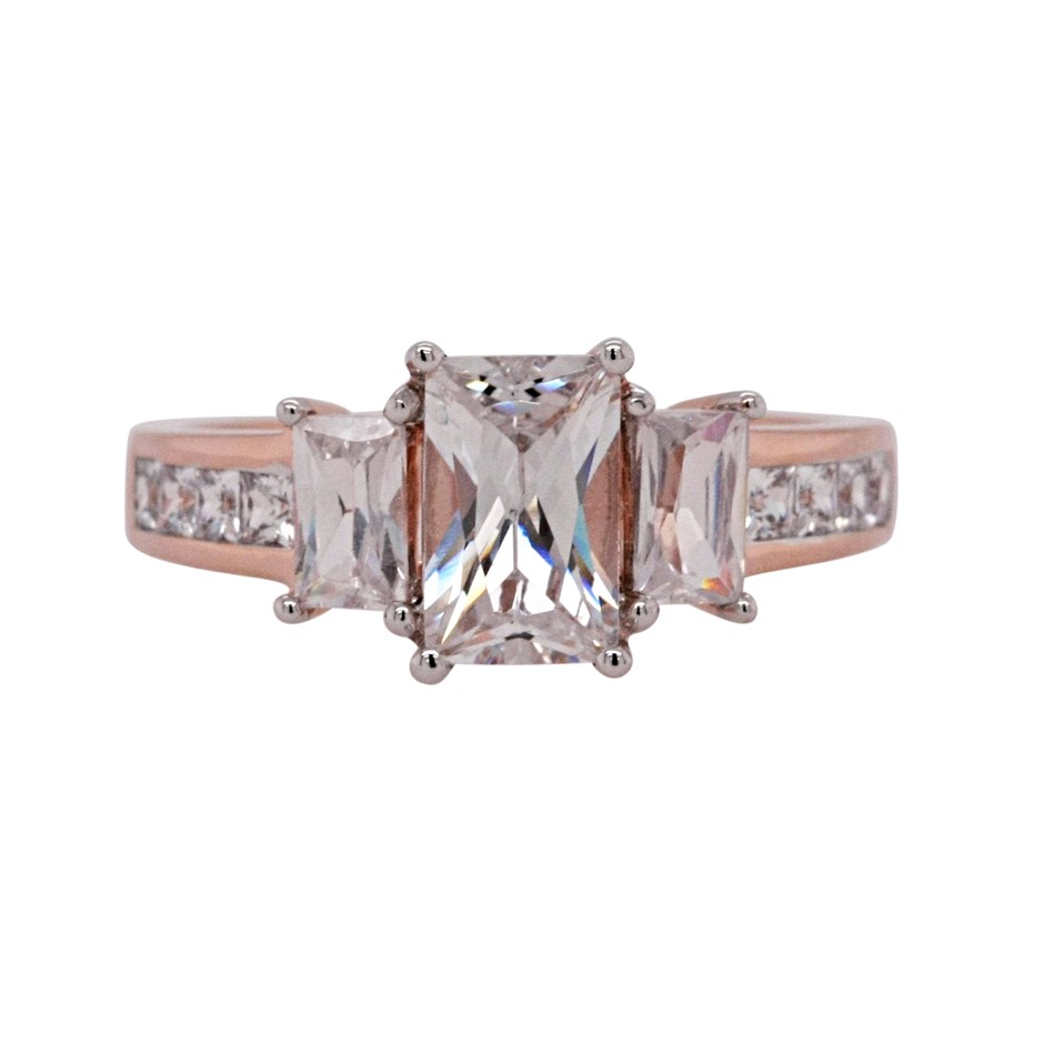 Ladies Pink Gold Vermeil White CZ Dress Ring