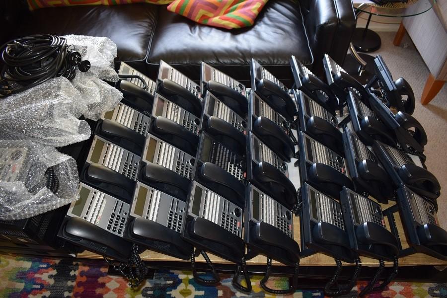 35 X ASSORTED NEC-BRAND IP-PHONES, 5 X NEC-BRAND SL1100 CONTROL BOXES