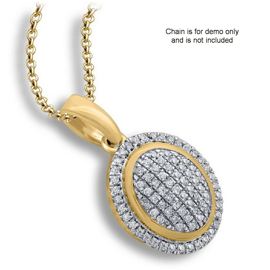 9ct Yellow Gold, 0.11ct Diamond Pendant