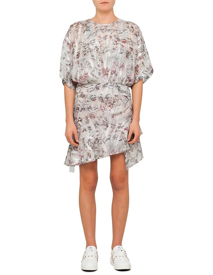 IRO Wobam Short Sleeve Mini Dress. Size 38, Colour: Grey Multi. 75%Silk/25%