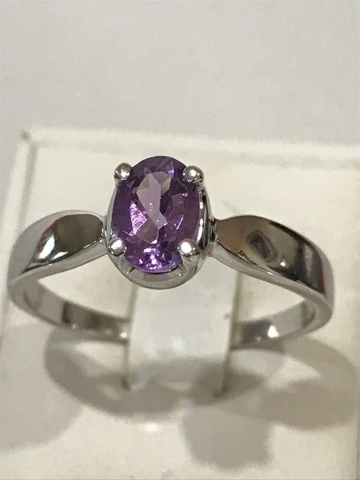 Stunning Genuine 1.10ct Amethyst & 18K W/Gold Vermeil Ring. Size R 1/2 (9)