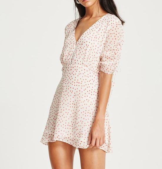 VESTIRE Olivia Mini Dress. Size 8, Colour: Red Polka Dot. Buyers Note - Dis