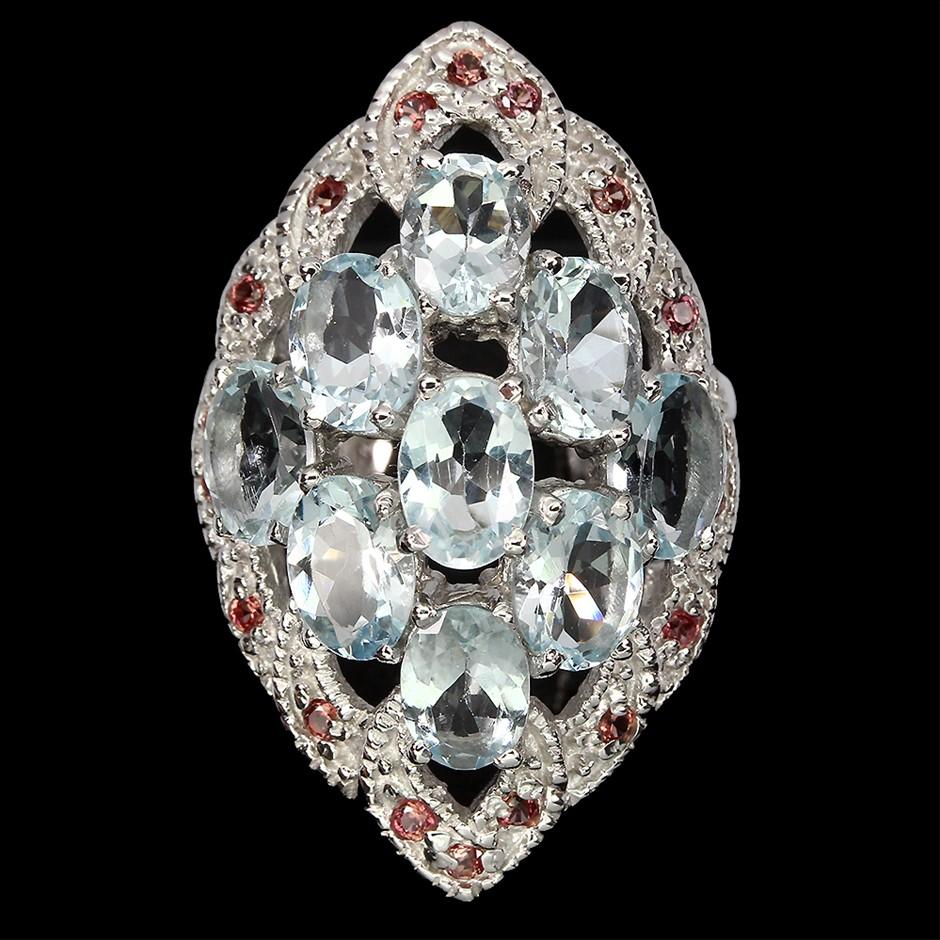 Spectacular Genuine Aquamarine & Sapphire Statement Ring