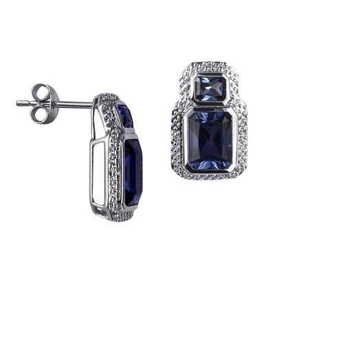 9ct White Gold Created Ceylon Sapphire / Diamond Studs Earring