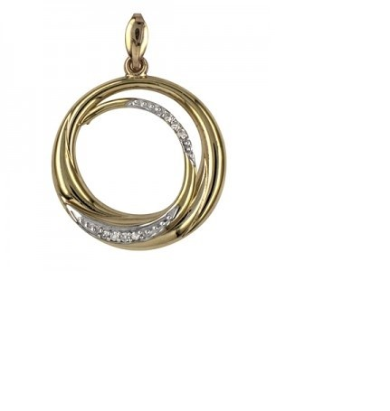 9ct Yellow Gold Diamond Set 20mm Double Circle Pendant