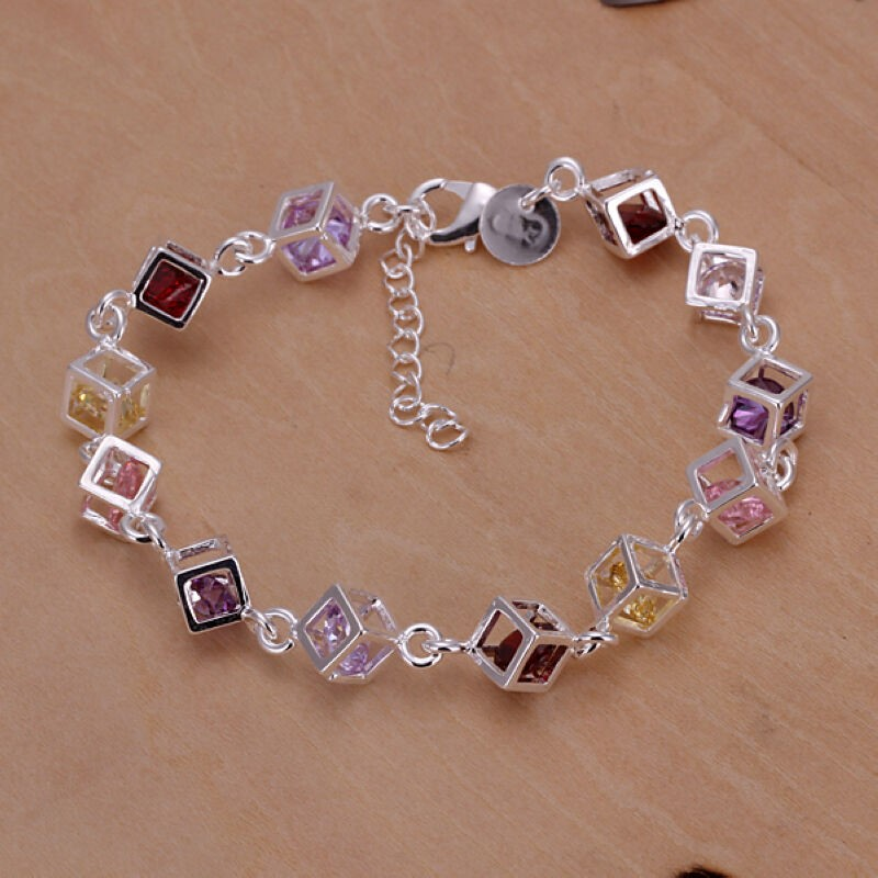 Sterling Silver Filled Womens FASHION Colors Zircon Stone Charm Bracelet