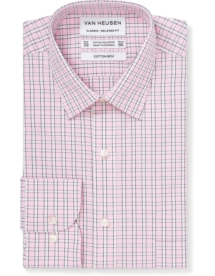 VAN HEUSEN White and Pink Check. Size 46. Cotton Blend. Buyers Note - Disco