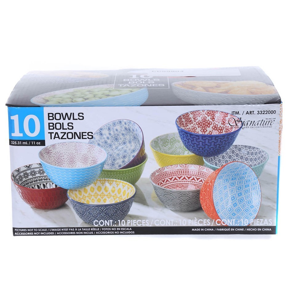 10 x SIGNATURE HOUSEWARES INCORPORATED Ceramic Bowls, Mixed Colours. (SN:CC
