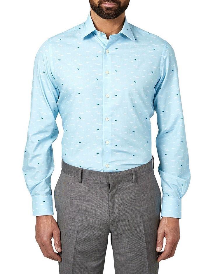 SIMON CARTER Paper Airplane Print Shirt. Size 16.5, Colour: Blue. Buyers No