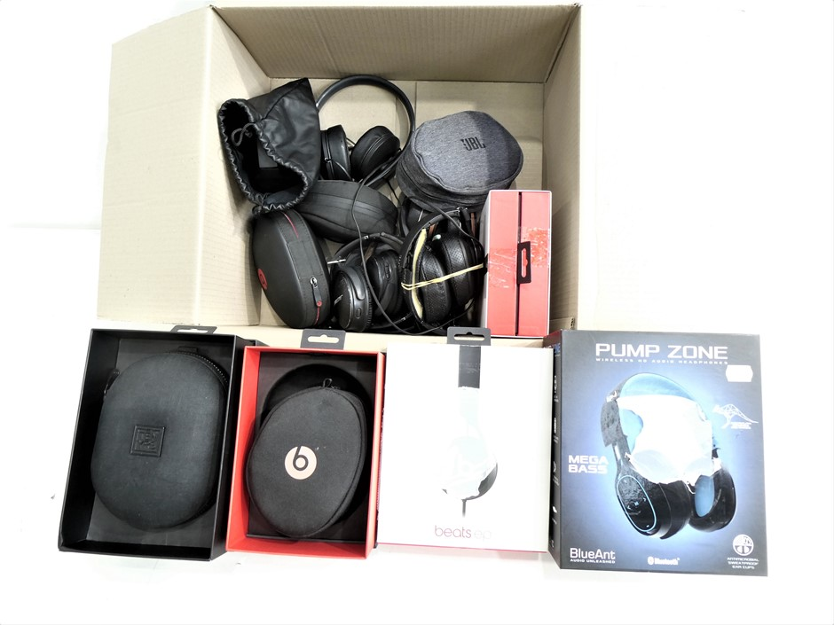 Box of Assorted USED AND UNTESTED ON AND OVER EAR HEADPHONES