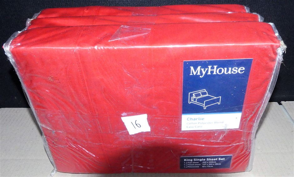 3 x MyHouse King Single 365 Thread Count Bed Sheet Set - Total RRP $389.85