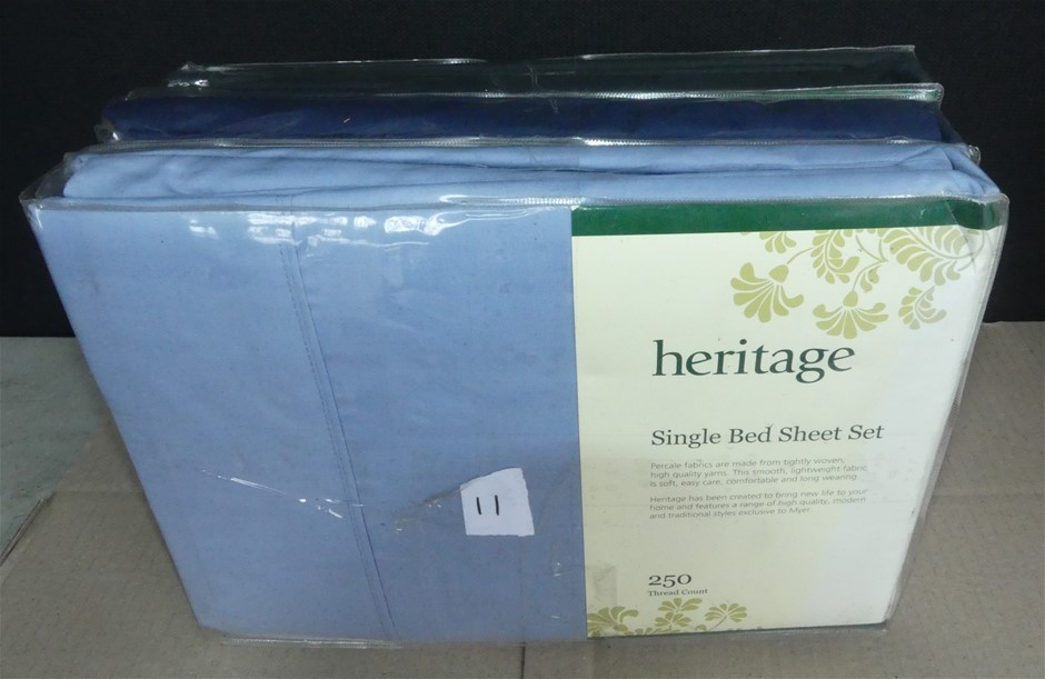 3 x Heritage Single 250 Thread Count Bed Sheet Set - Total RRP $239.85
