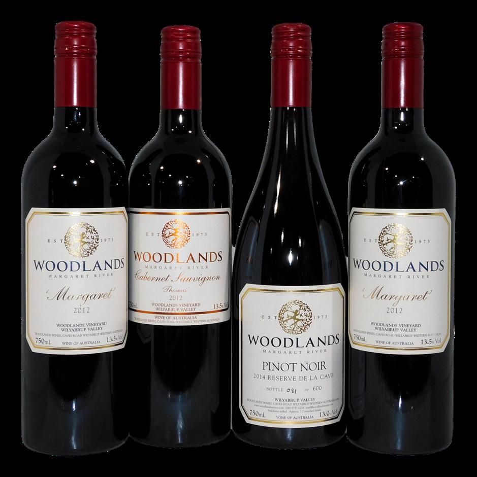 Woodlands Margaret River Red Wine Mixed Pack (4x 750mL), WA. Screwcap