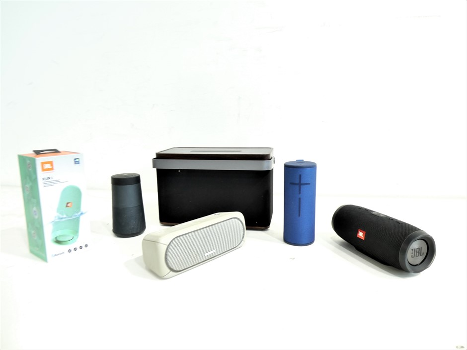 Box of Assorted USED & UNTESTED PORTABLE SPEAKERS
