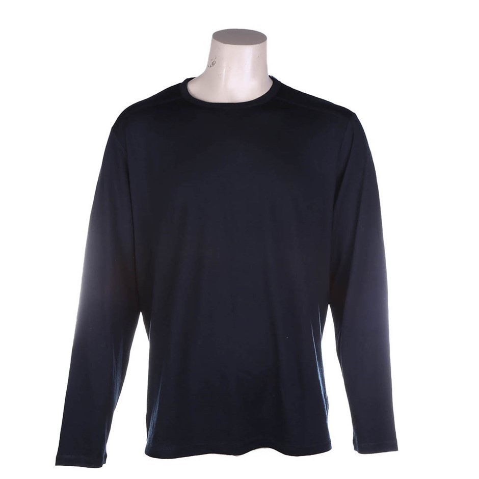 TRUE NORTH Men`s Long Sleeve Top, Size XL, 100% Merino Wool, Black. Buyers