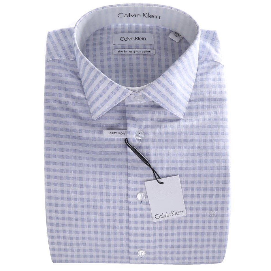 CALVIN KLEIN Dobby Check Slim Fit Shirt. Size 38, Colour: Navy. 100% Cotton