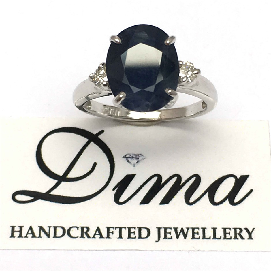 18ct White Gold, 4.92ct Blue Sapphire and Diamond Ring
