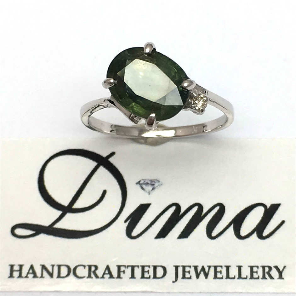 18ct White Gold, 3.03ct Green Sapphire and Diamond Ring