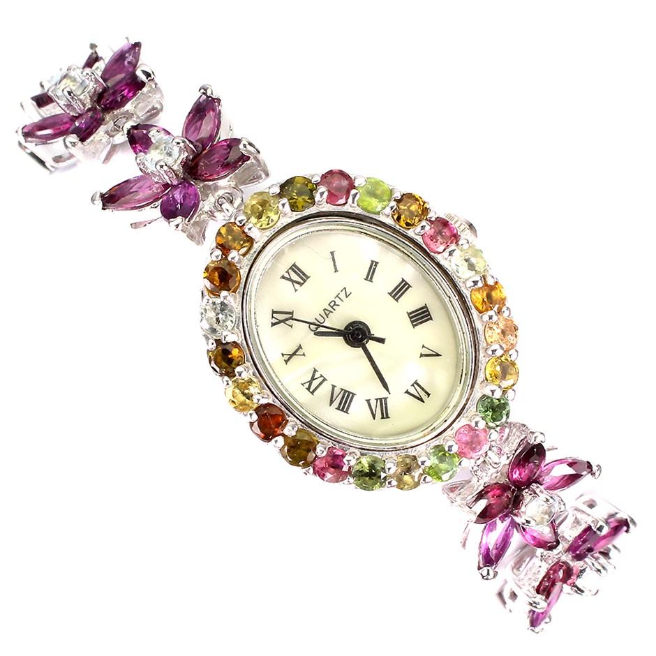 Beautiful Genuine Aquamarine & Tourmaline Watch.